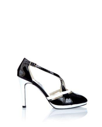 zapato salon mujer en piel y charol blanco y negro con tacon de 8cm