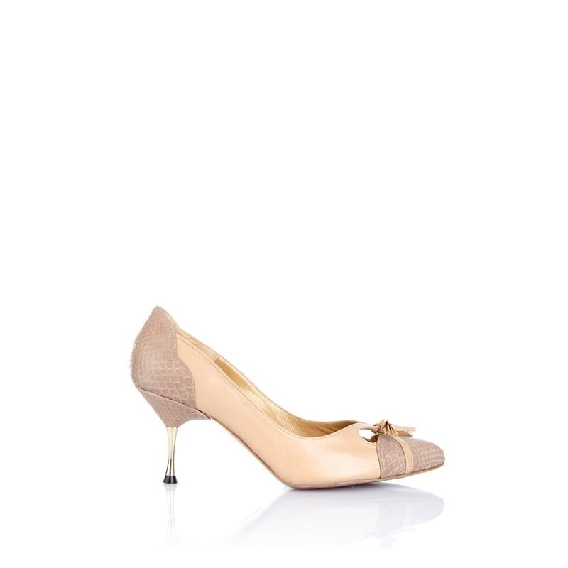 zapato mujer en piel y piton nude marron tierra y tacon de acero dorado