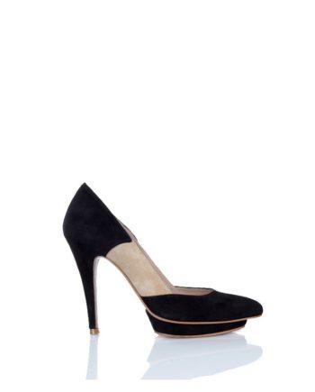 zapato salon mujer tacon alto en ante negro y beige