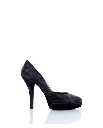 zapato mujer salon tacon alto ante negro
