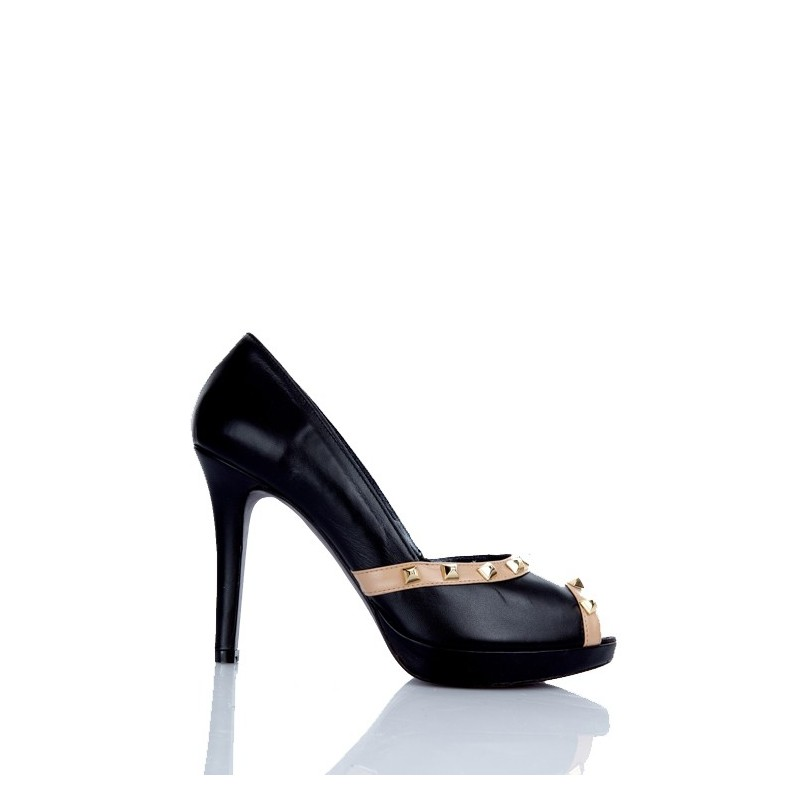 zapato mujer peeptoe tacon alto negro tachas