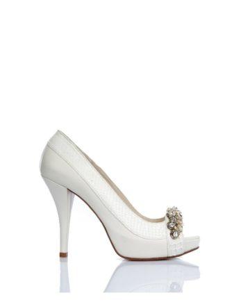 zapatos de novia blanco crudo tacon alto 12 cm y plataforma oculta en piton y piel