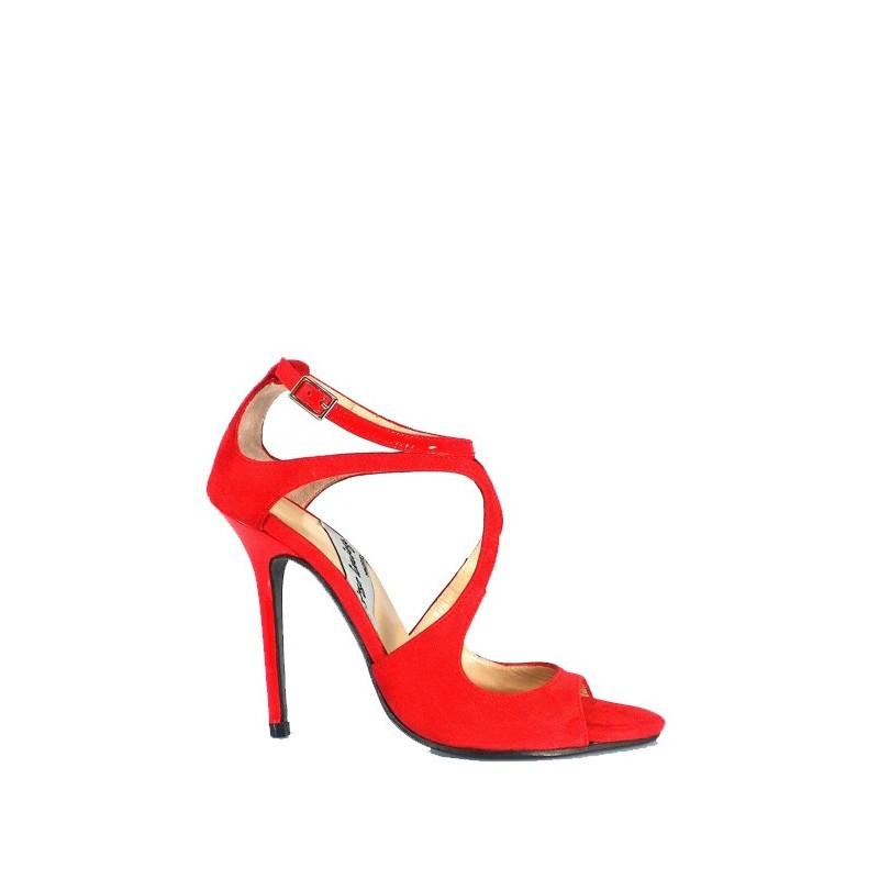 sandalias de novia color rojo ante y charol tacon alto