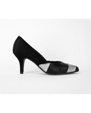 zapatos de mujer en ante negro y piton patchwork