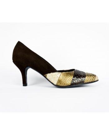 zpatos de mujer salon en ante negro y patcwork en piton