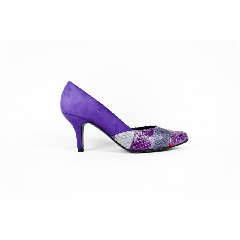 zapatos de mujer en patchwork piton y ante morado