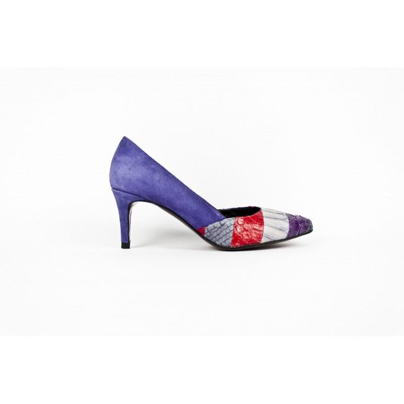 zapatos salon de mujer en ante violeta y piton patchwork