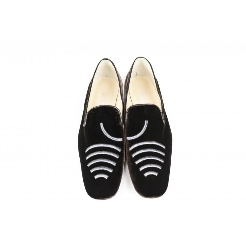 zapatos de hombre slippers terciopelo marron
