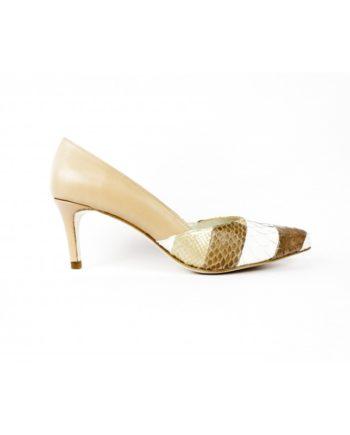 zapatos piton patchwork y piel marron