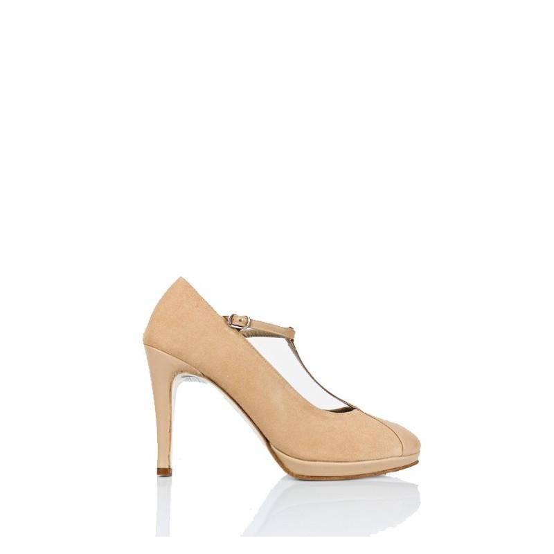 zapatos de mujer con plataforma en ante y piel nude beige