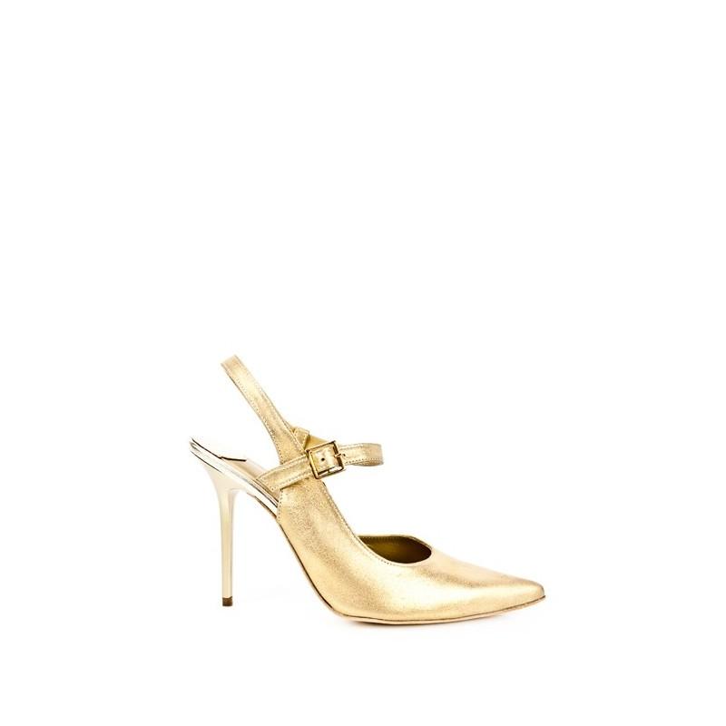 zapatos de mujer tacon alto 10 cm en piel metalizada dorada oro