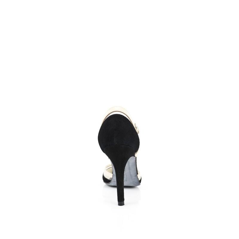 zapatos de salon de mujer en ante negro y charol nude beige con tacon de 8 cm y vinilo transparente