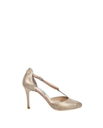 zapatos salon de mujer en ante y piel metalizada con tacon de 8 cm