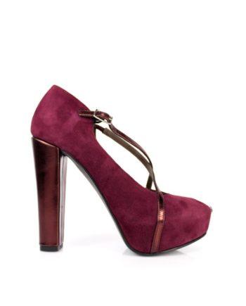 zapatos de novia peeptoe en ante y piel metalizada color rojo burdeos