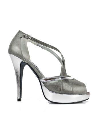 zapatos de novia en piel metalizada color gris y tacon alto de 12 cm y plataforma en espejo