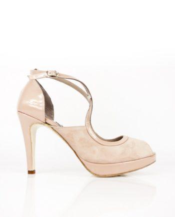 zapatos de novia tacon 9 cm en ante y charol nude rosa