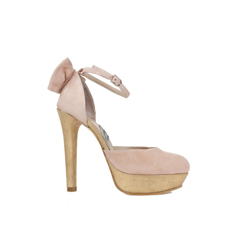 zapatos sandalias de novia rosas y oro con plataforma y lazo trasero rosita