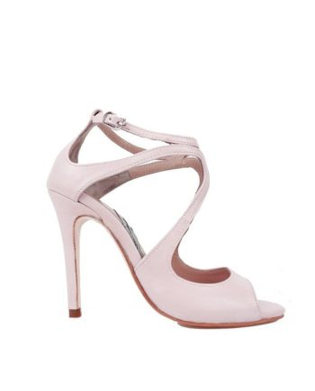 sandalias de novia color rosa en piel con tacon de 9 cm y lazo zapatero tambien rosa