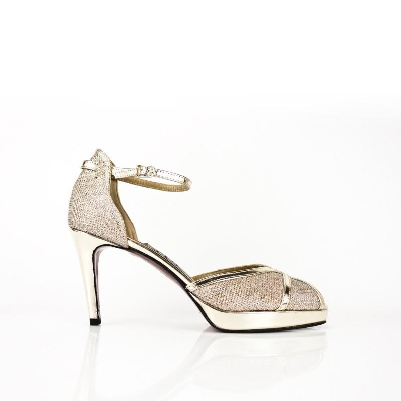 zapatos de novia glitter oro tacon 9 cm y plataforma