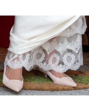 zapatos planos de novia rosas piton y ante