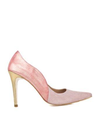 zapatos de novia rosas con tacon dorado en ante y piel metalizada