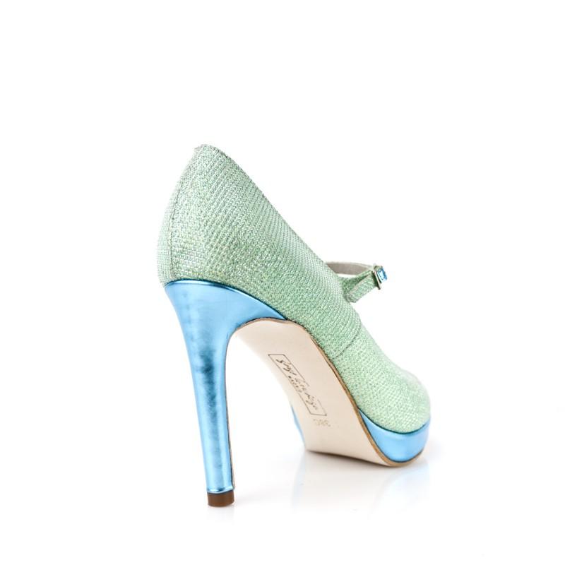 zapatos de novia en glitter verde aguamarina y tacon de 8 cm y plataforma en piel metalizada azul mar