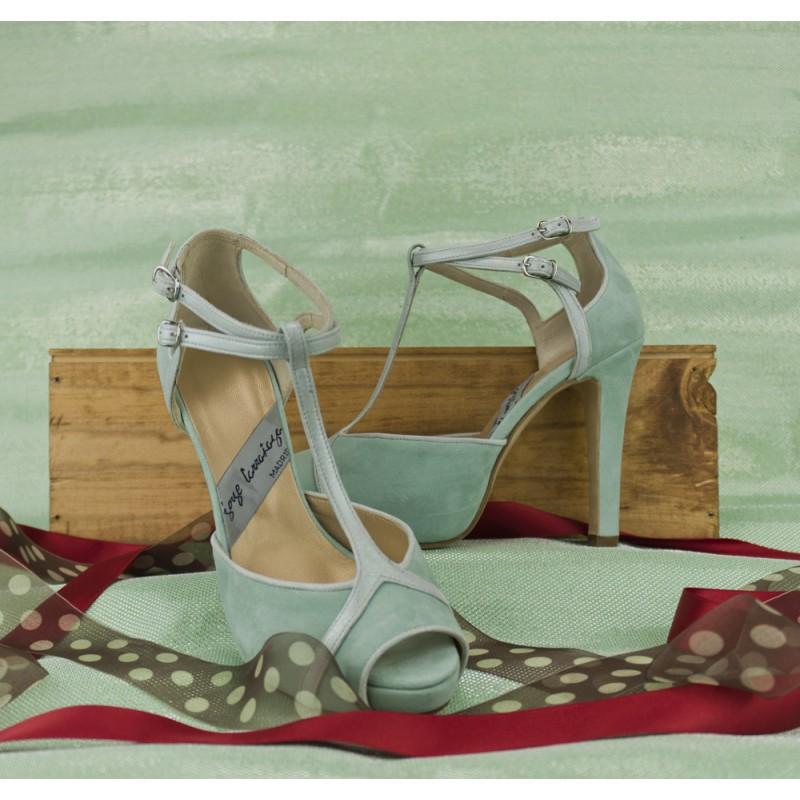 zapatos de novia azul verdoso peeptoes con plataforma oculta