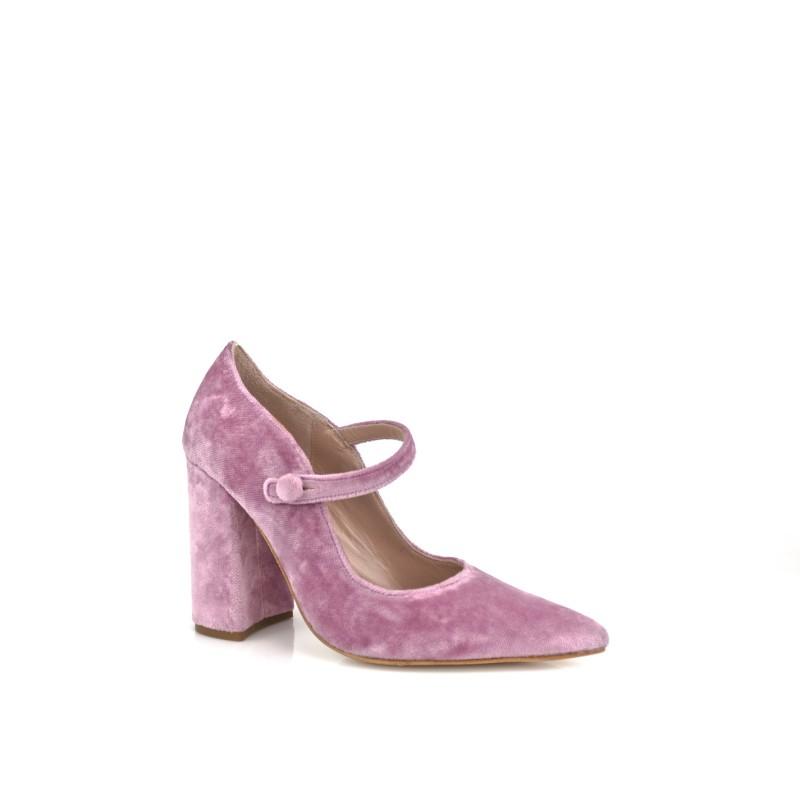 zapatos de novia en terciopelo malva rosa con tacon ancho de 9 cm