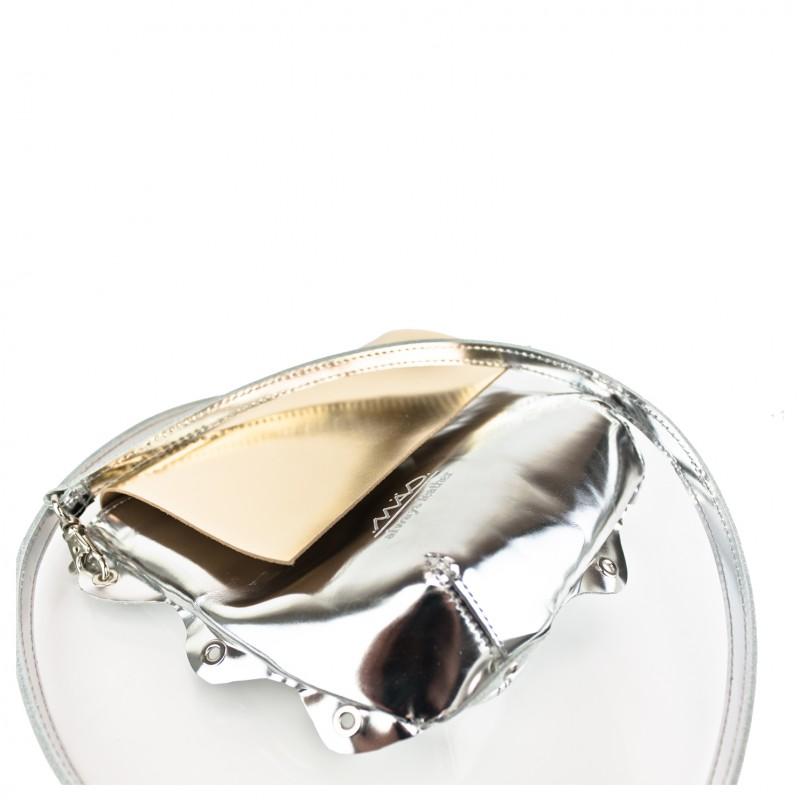 Bandolera piel metalizada madinmad oro plata