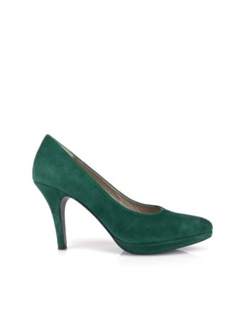 zapatos de mujer en ante verde con plataforma y tacon de 8 cm