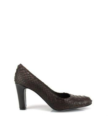 zapatos de piton marrones tacon 8 cm