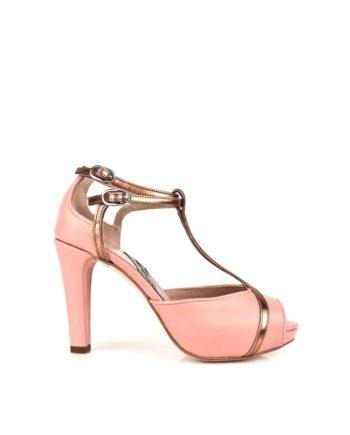 zapatos peeptoe de novia en piel rosa con plataforma y tacon de 9 cm y doble pulsera
