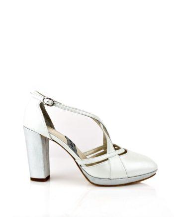 zapatos de novia blancos tacon ancho
