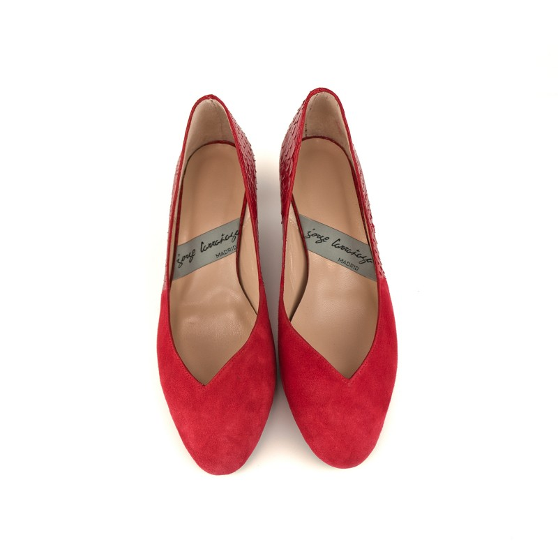 zapato plano piton y ante rojo