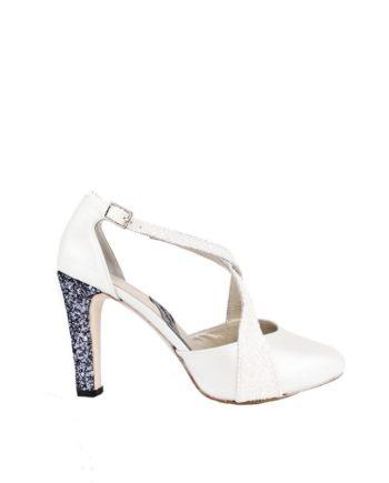 zapatos de novia blancos con tacon plata glitter de 9 cm