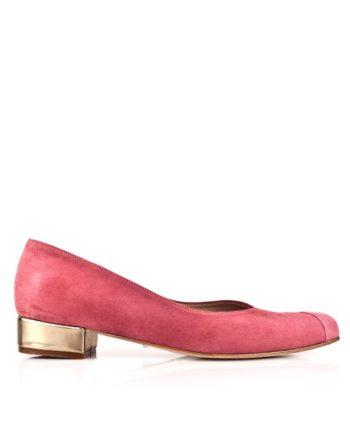 zapatos planos mujer en ante rosa y tacon dorado en piel metalizada espejo