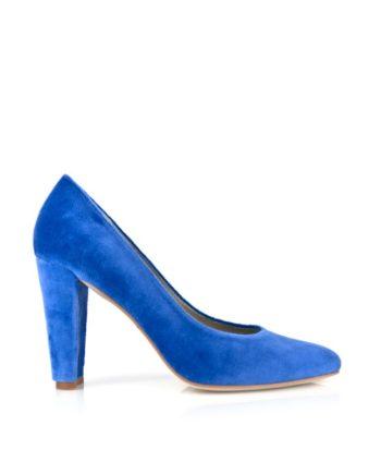 zapato salon de mujer stiletto en terciopelo azul con tacon ancho de 9 cm