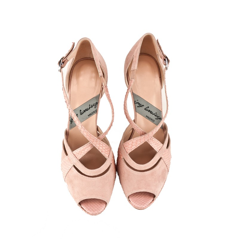 zapatos peeptoes de novia abiertos por delante en puntera en ante y piton color rosa y tacon de 9 cm