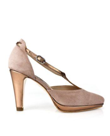 zapatos salon fiesta noche mujer en ante color nude con plataforma pulsera y tacon de 8 cm en piel metalizada color bronce