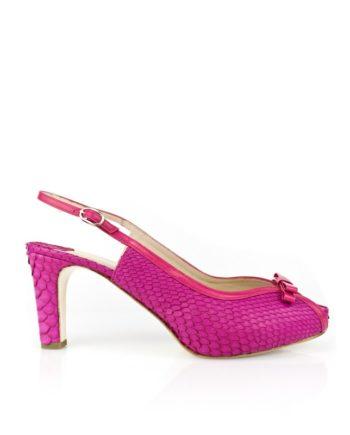 zapatos peeptoes rosas en piel y piton con lazo en empeine y tacon de 7cm