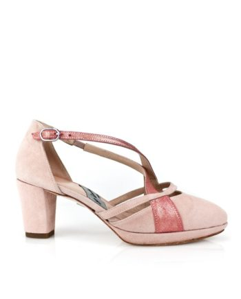 zapatos de novia rosas con plataforma y tacon de 7 cm en ante y piel metalizada