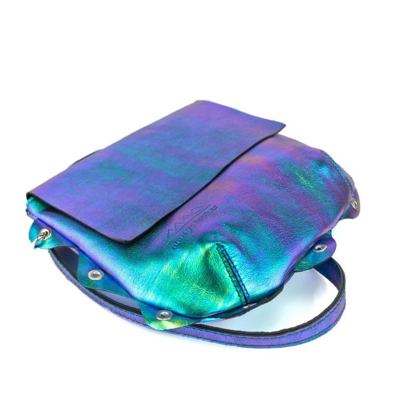 bolso Bandolera piel fantasia azul verde morado que cambia de color