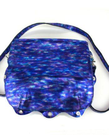 bolso Bandolera piel fantasia azul y morado con asa para llevar al hombro original