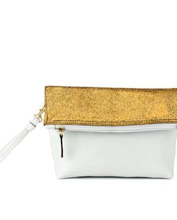 bolso de mano madinmad en piel clor blanco y piel metalizada glitter oro dorado