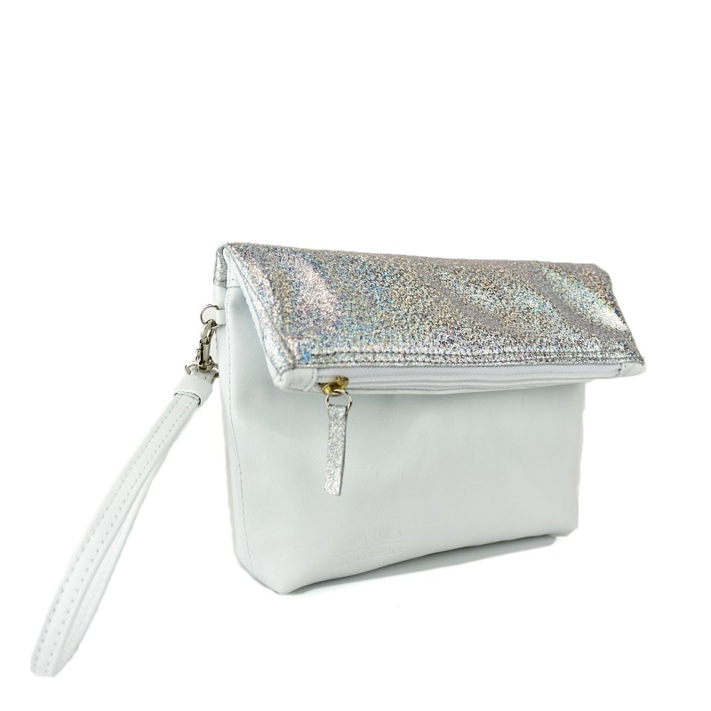 bolso de mano madinmad en piel clor blanco y piel metalizada glitter plata