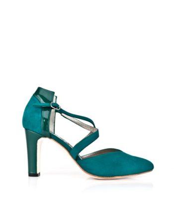 zapatos verdes en ante y charol con tiras cruzadas en empeine y tacon de 8 cm