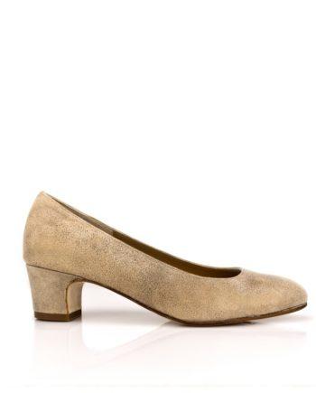 zapatos planos de mujer con tacon de 4 cm en piel metalizada