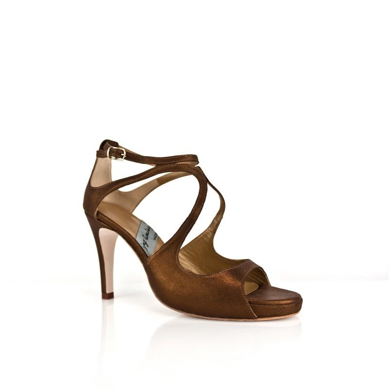 sandalias con tacon de 8 cm en piel metalizada bronce