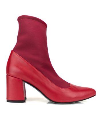 botines mujer rojos en piel y caña elastica con tacon acampanado de 8 cm
