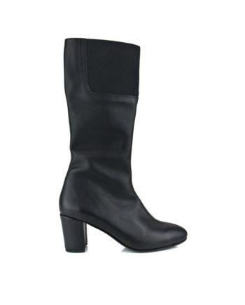 botas negras caña alta en piel box con tacon ancho de 6 cm y cremallera interior